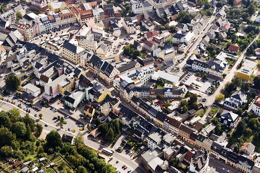 Schrägluftbild: Rochlitzer Straße bis Markt