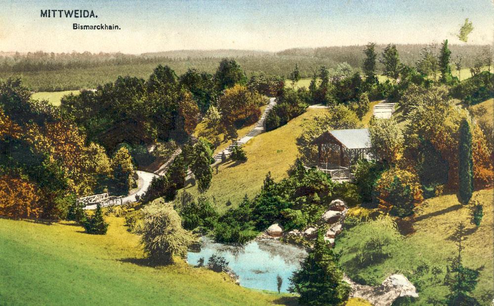 nach 1911, Ansichtskarte mit Blick über die obere Teichanlage im Bismarckhain