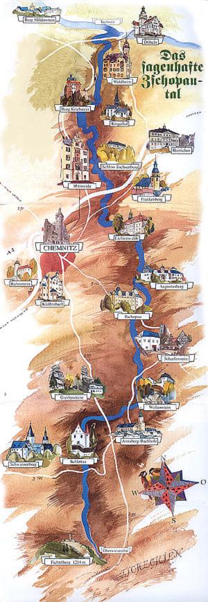 Karte Zschopau mit Sehenswürdigkeiten