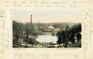 nach 1909: Ansichtskarte mit Blick über den unteren Teich im Bismarckhain