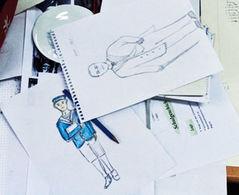 Ideenskizzen zu Kleidung, Haltung und Gestik